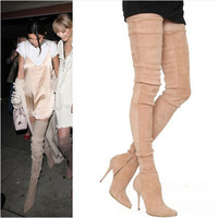 Long Boots Suede Slim Thigh High
