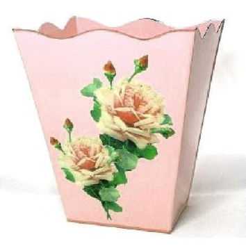 "Pink French Vintage Look Wastebasket 12"" x10"" x10"""