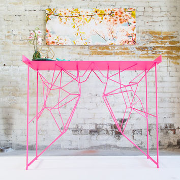 "Industrial Modern, Console Table, Pink, Coffee Table, Sofa Table, Steel Console,  ""The Yoshi Console Table"""