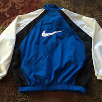 VTG 90s Nike Swoosh Tag Colorblock Windbreaker Jacket Sz XL Blue Black White Zip