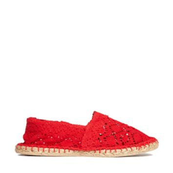 London Rebel Crochet Espadrille - Red