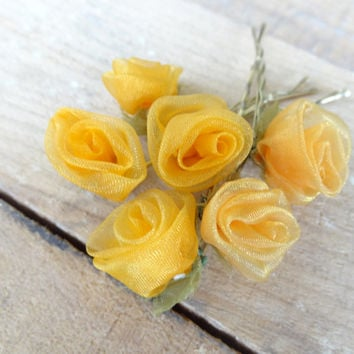 Orange Rose Wedding Hair Pins,Orange Bridal Hair Pins, Hair Accessories, Organza Hair Pins, Bridesmaid Hair, Woodland - Set of 6
