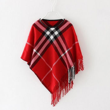 2-6 Y, classical girls cloak wool with tassels kids outerwear baby cape 4 colors (free size fit for height: 95-135 cm)