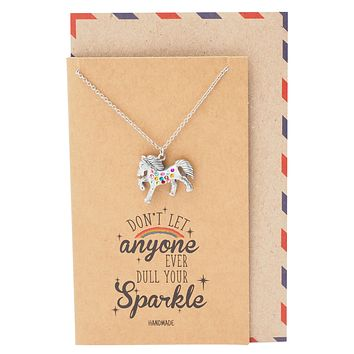 Lexine Sparkle Rainbow Horse Pendant Friendship Necklace Inspirational Quote With Greeting Card