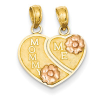 14k Two-tone Mommy/Me Breakable Heart Pendant K1713