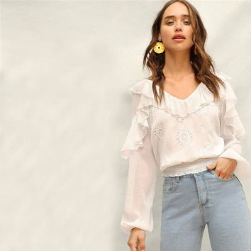 Lady Sweet Smocked Hem Semi Sheer Eyelet Embroidered Ruffle White Top Women Cute Bishop Sleeve V Neck Solid Blouses
