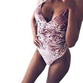 FEITONG Velvet Bodysuit Women Sexy Sleeveless Stretch Strappy Leotard Rompers Overalls Body Suit Mujer