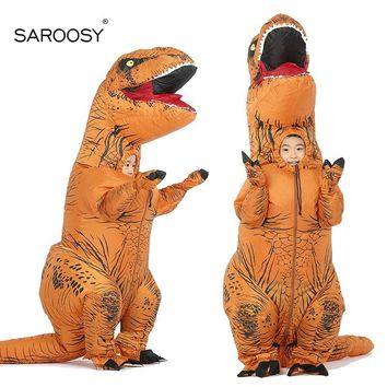 SAROOSY New T Rex Kid Inflatable Costumes Halloween Party Dinosaur Cosplay Costume Inflated Garment with Free Fan