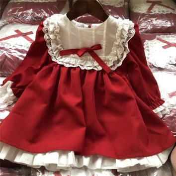 baby girl winter princess dresses vintage red Lace long sleeve New Year costumes dresses Christmas evening party birthday dress