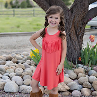 Girls Fringed Tank Tunic Dress- Coral