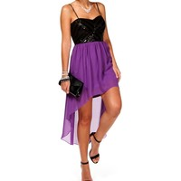 Purple/Black Sequin Colorblock Hi Lo Dress