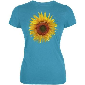 ESBGQ9 Giant Sunflower Juniors Soft T Shirt