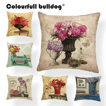 Animal Plant Cushion Cover Hydrangea Pillow Cherry Farmhouse Style Meditation Homeware Towel Dakimakura Bauhinia 17.7Inch Linen
