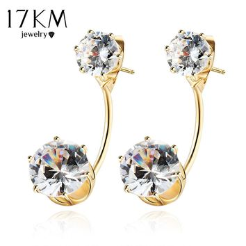 17KM Boho Vintage Tibetan Double Side Crystal Stud Earrings For Women Fashion Gold Color Ball Party Wedding Jewelry Dropship