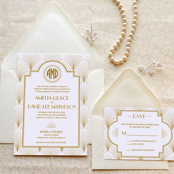 The Charleston Gatsby Wedding Invitations - 1920s wedding - Art Deco Wedding - Old Hollywood - Monogram Wedding