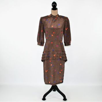 70s 80s Vintage Clothing Women Dress Brown Print Fall Dress Peplum Dress Small Medium Midi Dress 3/4 Sleeve Vintage Clothing Womens Clothing