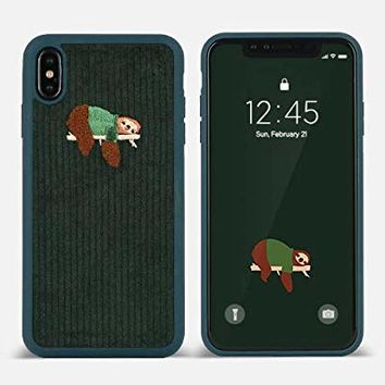 DesignSkin iPhone Xs MAX Corduroy Embroidered Cloth Covered Case: Thin Fit, Lightweight, Non-Slip Grip Fashion w Character Cover for Apple iPhoneXS MAX - Green/Sloth