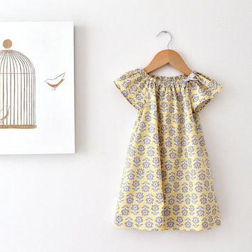 Toddler Girls Organic Spring Dress-modern retro flowers cotton yellow grey baby toddler party sundress- Children Clothing by Chasing Mini