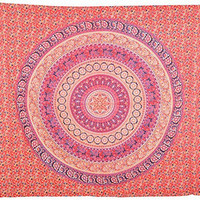 Indian Hippie Hippy Tapestries,Boho Wall Hanging Tapestry,Traditional Indian Round Elphant Mandala Tapestry,Twin Size Bedspread Ethnic Home Decor Dorm Tapestry, TP4033