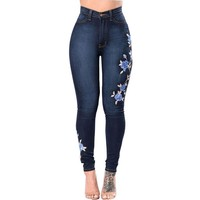 Embroidery Jeans High Waist Women Jeans Skinny Winter Denim Push Up Jeans Slim Mom Jeans Female