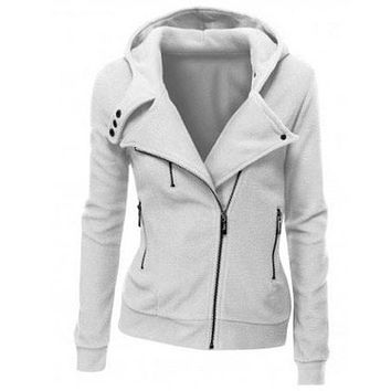 Fashion Zipper Solid Color Hooded  Cardigan Jacket Coat