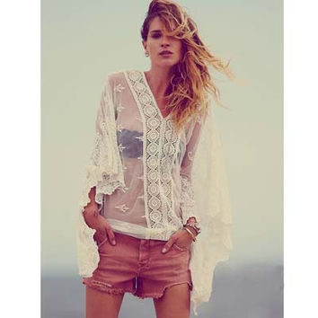 Lace Kaftan Cover Up. Beautiful White Lace Cover Up, Top.