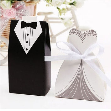 100PCS Wedding Favor Candy Boxes Bridal Groom & Dress Tuxedo Party Ribbon Gift [7983315975]