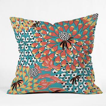 Juliana Curi Flower Dots 1 Throw Pillow