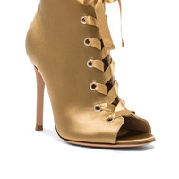 Gianvito Rossi Satin Marie Lace Up Booties in Mekong | FWRD