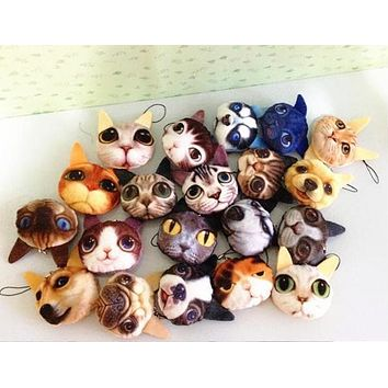 Free Shipping, 1piece random design , mini 3-5cm little Cat & dogs plush doll , 3d animal string rope plush stuffed toy