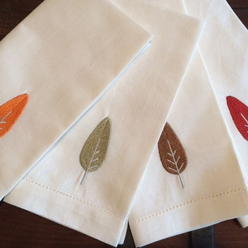 Set of 4 Modern Tree Embroidered Cloth Dinner Napkins / Christmas Tree / tree napkins / forest / woodlands /