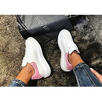 ALEXANDER MCQUEEN Hot Sale Woman Leisure Sport Shoes Sneakers(Velvet Tail) Pink