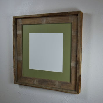 Square picture frame frame for 12x12 or  with green mat for 8x8 or 10x10 prints