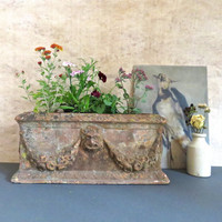 Antique Italian Terra Cotta Planter from Tuscany, Victorian Planter Decorated with Mythical Face, c. 1900
