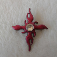 Red Tribal Cross white crystal steel  brooch  pin