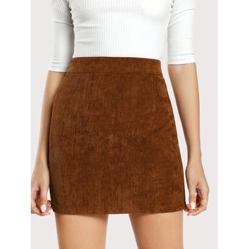 Solid Bodycon Skirt Brown