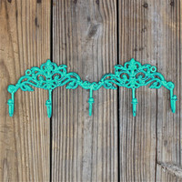 Metal Wall Hook /Turquoise Blue /Bright Shabby Chic Decor /Ornate Hanger /Key Holder /Bathroom Fixture /Bedroom /Mud Room Rack /Nursery