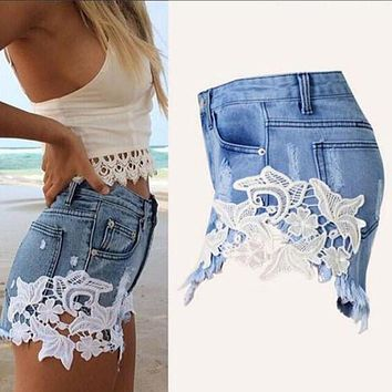sexy lace stitching jeans shorts women patchwork denim shorts spring bottoms frayed chic female fashion american western style