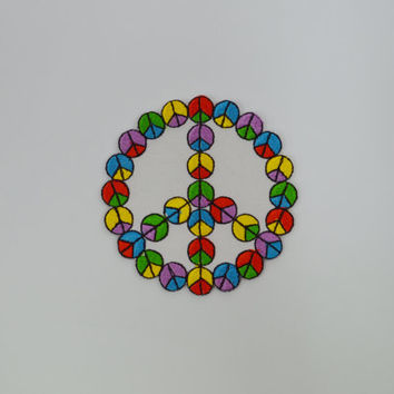 Peace Sign Patch Embroidered Rainbow Hippie Applique Iron on Patch White Colorful Boho Soft Grunge DIY Denim Jacket Backpack Embroidery