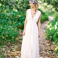 Laure de Sagazan Wedding Dress Vintage Chiffon Bohemian Bridal Gowns Sexy V Neck Beach Wedding Dresses Boho 2017 Casamento