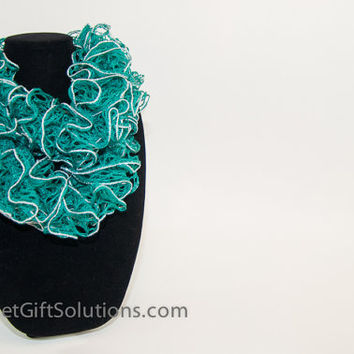 Emerald Green and Silver Woman's Ruffled Scarf, Green and Silver Sashay Ruffled Scarf, Bell Ruffled Scarf, Knit Ruffled Scarf