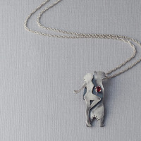 Sterling Silver Girl and Bear Pendant, Silver Animal,  Beauty and the Beast Necklace,Spirit Animal, Metalwork Necklace, Made to Order