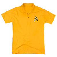Star Trek Men's  Command Patch Polo Shirt Gold Rockabilia