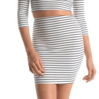 Featuring slip on style high waist design mini skirt, navy color stripe print throughout, and folded hem. Also available matching 3/4 Length Sleeve Stripe Cropped Top on top section.