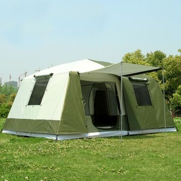 Big tent outdoor camping 10-12people high quality luxury family/party 2room 1hall outdoor camping tent
