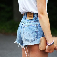 LEVI HIGH WAIST denim shorts authentic custom all sizes colors