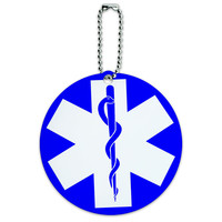 Star of Life Medical Health EMT RN MD Round ID Card Luggage Tag