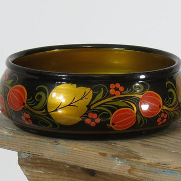 USSR Khokhloma Painted Wooden Bowl Russian Folk Art