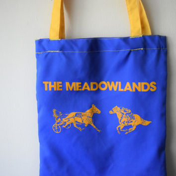 Vintage Blue & Yellow Meadowlands Racetrack Tote Bag w Horses // East Rutherford New Jersey NJ // Retro Hipster Equestrian Style Book Tote