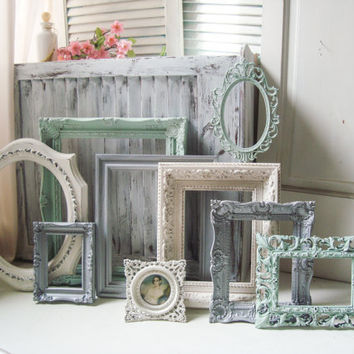 Mint and Silver Vintage Frame Collection, Made to Order, Green, Cream and Metallic Silver Open Frame Set, Cottage Chic Set of 9 Open Frames